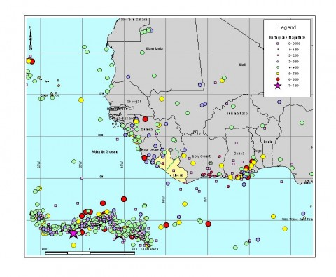 A map of West African earthquakes used in the seismic hazard assessment in Guinea
