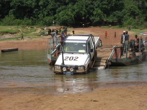Truck leaving a chain ferry encountered during a field excursion for a seismic hazard assessment in Guinea